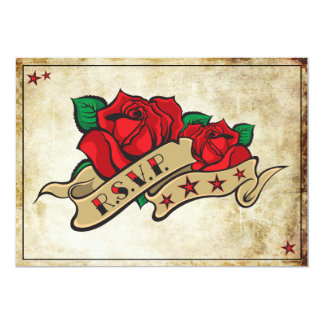 "Tarjetas subiós tatuaje de RSVP del eje de Invitación 5"" X 7"""
