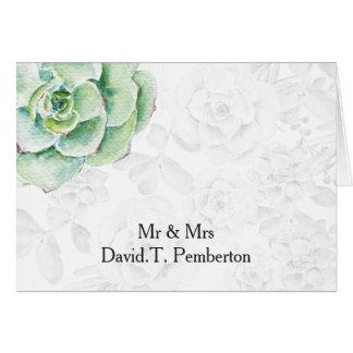 tarjetas suculentas del lugar del boda de la