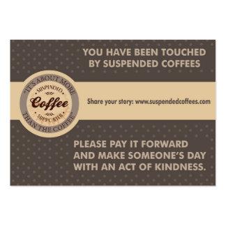 Tarjetas suspendidas de la amabilidad de los cafés tarjetas de visita grandes