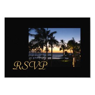 Tarjetas tropicales de RSVP del destino Comunicados Personales