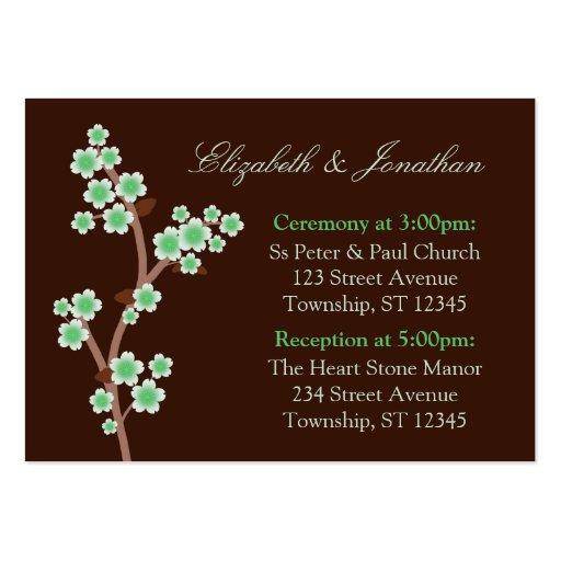 Tarjetas verdes de la dirección del boda de Brown  Plantilla De Tarjeta De Visita
