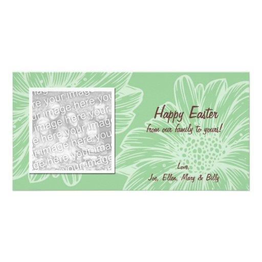 Tarjetas verdes de la foto de Pascua de la margari Tarjeta Personal Con Foto