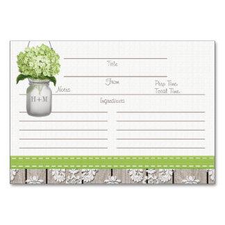 tarjetas verdes de la receta del tarro de albañil