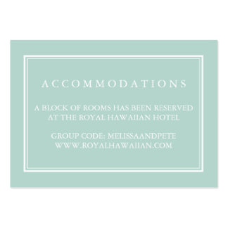 Tarjetas verdes del alojamiento de hotel del boda tarjetas de visita grandes