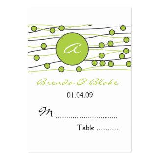 Tarjetas verdes del asiento de la tabla del boda d tarjetas de visita grandes