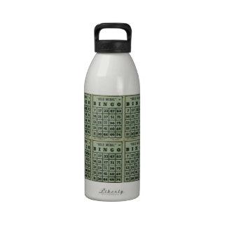 tarjetas verdes del bingo del vintage botella de beber