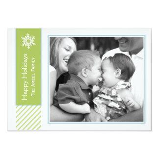 Tarjetas verdes del copo de nieve y de la foto del comunicado personal