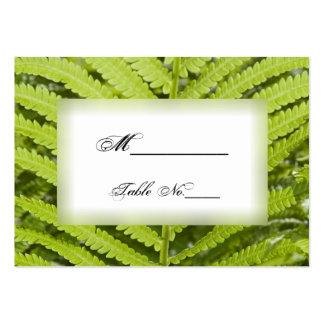 Tarjetas verdes del lugar del boda del helecho tarjetas de visita grandes