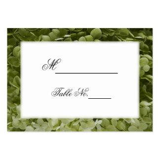 Tarjetas verdes del lugar del boda del Hydrangea Tarjetas De Visita Grandes