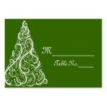 Tarjetas verdes del lugar del boda del invierno tarjetas de visita