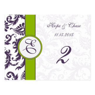 Tarjetas verdes del número de la tabla del damasco tarjetas postales