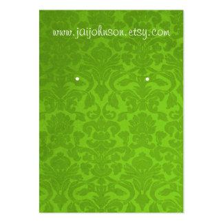 Tarjetas verdes del pendiente del fondo del tarjetas de visita grandes