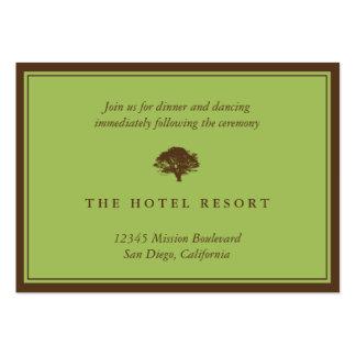 Tarjetas verdes del recinto de la recepción nupcia tarjetas de visita grandes