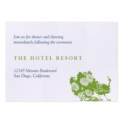 Tarjetas verdes del recinto de la recepción nupcia tarjeta de negocio