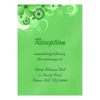 Tarjetas verdes del recinto de la recepción tarjetas de visita grandes