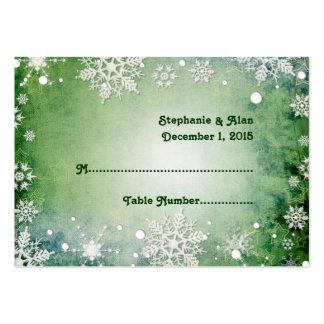 Tarjetas verdes hivernales del lugar del boda tarjetas de visita grandes