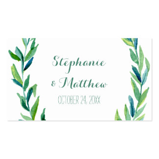 Tarjetas verdes olivas del lugar de la tabla del tarjetas de visita