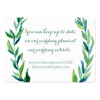 Tarjetas verdes olivas del Web site del boda de la Tarjetas De Visita Grandes