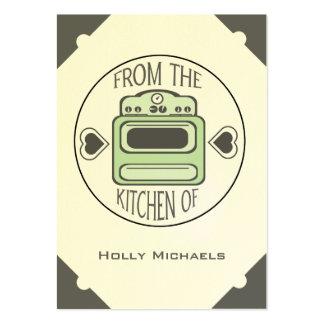 Tarjetas verdes retras de la receta de la estufa tarjetas de visita grandes