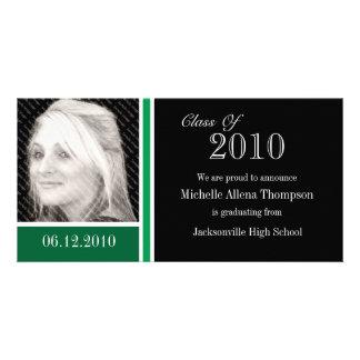 Tarjetas verdes y negras de la foto de la tarjeta personal con foto