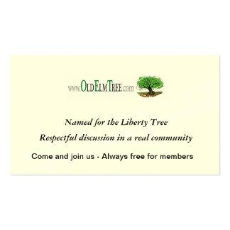 Tarjetas viejas del árbol de olmo tarjetas de visita