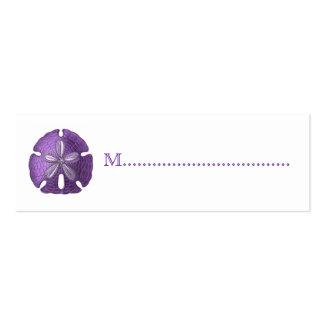 Tarjetas violetas del asiento de la tabla de la re tarjetas personales