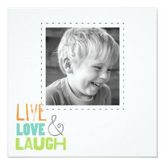 """tarjetas vivas de la foto del cuadrado de la risa invitación 5.25"""" x 5.25"""""""