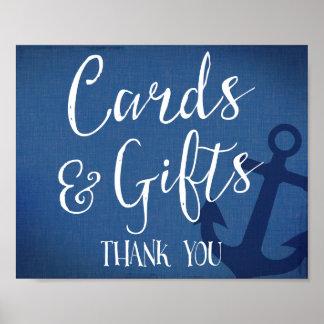 tarjetas y azules marinos náuticos de la muestra póster