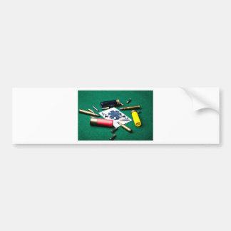 Tarjetas y balas de juego pegatina para auto
