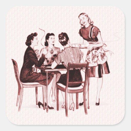 Tarjetas y café retros pegatinas cuadradases personalizadas