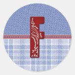 Tarjetas y franqueo iniciales del pañuelo del dril pegatina redonda