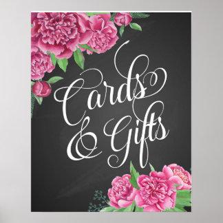 tarjetas y muestra floral del peony del boda de póster
