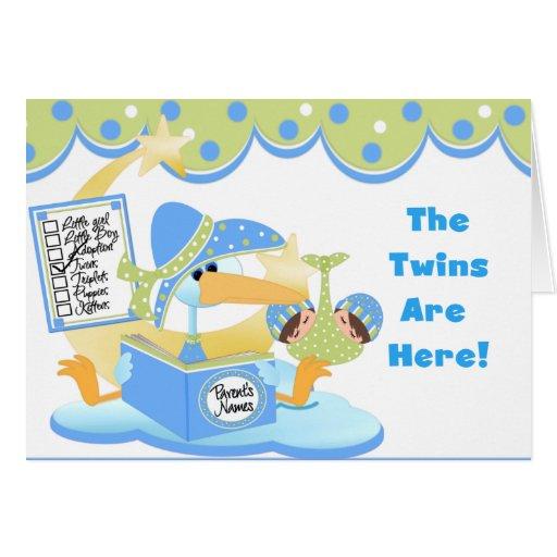Tarjetas y pegatinas blancos de los gemelos de la