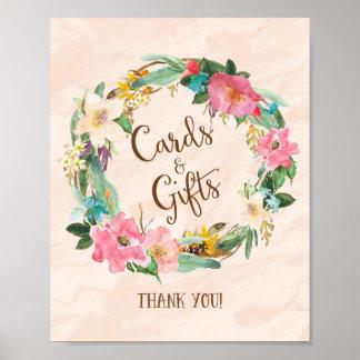 Tarjetas y regalos de la guirnalda de la flor que póster