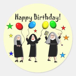 Tarjetas y regalos del feliz cumpleaños de la pegatina redonda