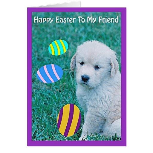 Tarjetas y regalos del perrito de Pascua del golde