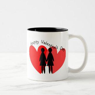 Tarjetas y regalos lesbianos de la tarjeta del día taza de dos tonos