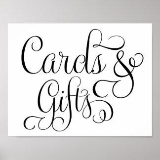Tarjetas y regalos que casan la muestra póster