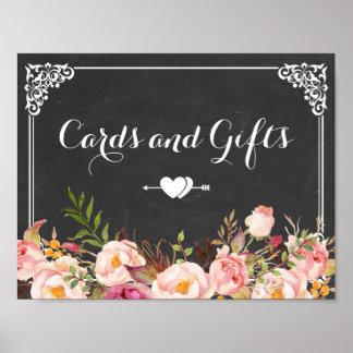 Tarjetas y regalos que casan la pizarra del póster