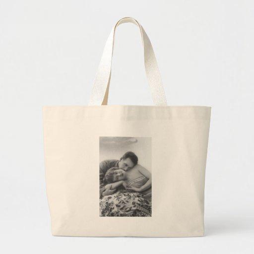 Tarjetas y regalos románticos antiguos de los pare bolsa lienzo