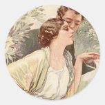 Tarjetas y regalos románticos antiguos de los etiquetas redondas