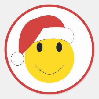 Tarjetas y regalos sonrientes del día de fiesta de etiquetas redondas