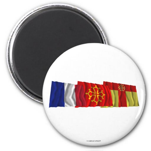 Tarn, Midi-Pyrénées & France flags 2 Inch Round Magnet