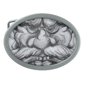 TAROT/ANTIQUE FANTASY GROTESQUE MASK Black White Oval Belt Buckle