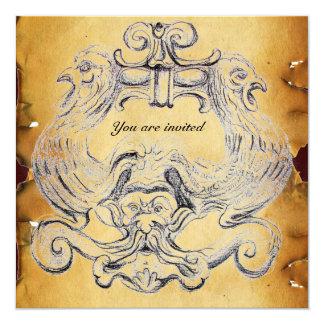 TAROT/ ANTIQUE FLORENTINE GROTESQUE PARCHMENT CARD