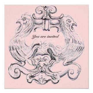 TAROT/ ANTIQUE FLORENTINE GROTESQUE Pink Black Card