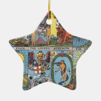 Tarot Card Collage Ceramic Ornament