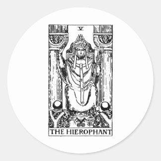 Tarot card 'hierophant' round sticker