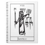 Tarot Card Justice Spiral Notebook