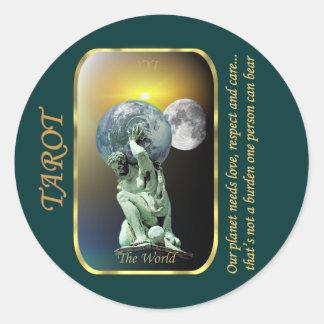 Tarot Card - The World Classic Round Sticker